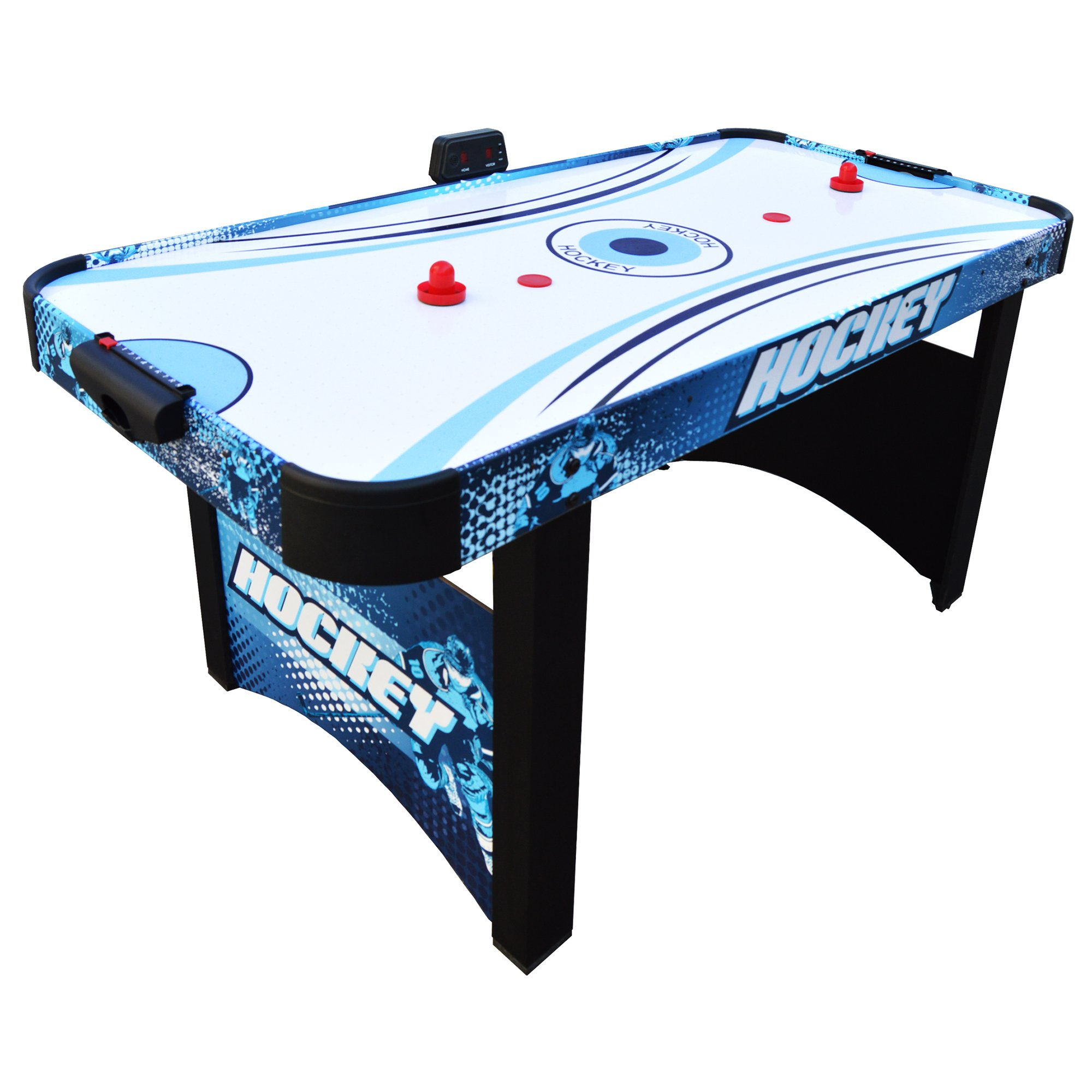 Hathaway Enforcer Air Hockey Table 5.5-ft for Kids with Electronic Scoring for Family Game Rooms – Blue/White