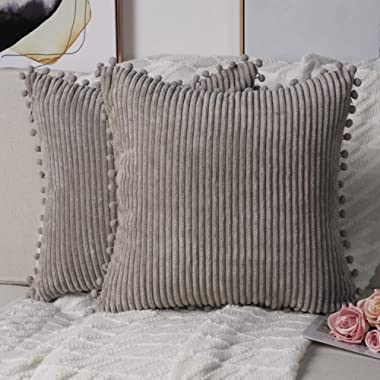 Madizz Pack of 2 Cozy Pom-poms Fringe Corduroy Throw Pillow Covers with Tassels Decorative Soft Flush Cushion Case Pillow Shell for Sofa Bedroom Square Light Grey 18x18 inch