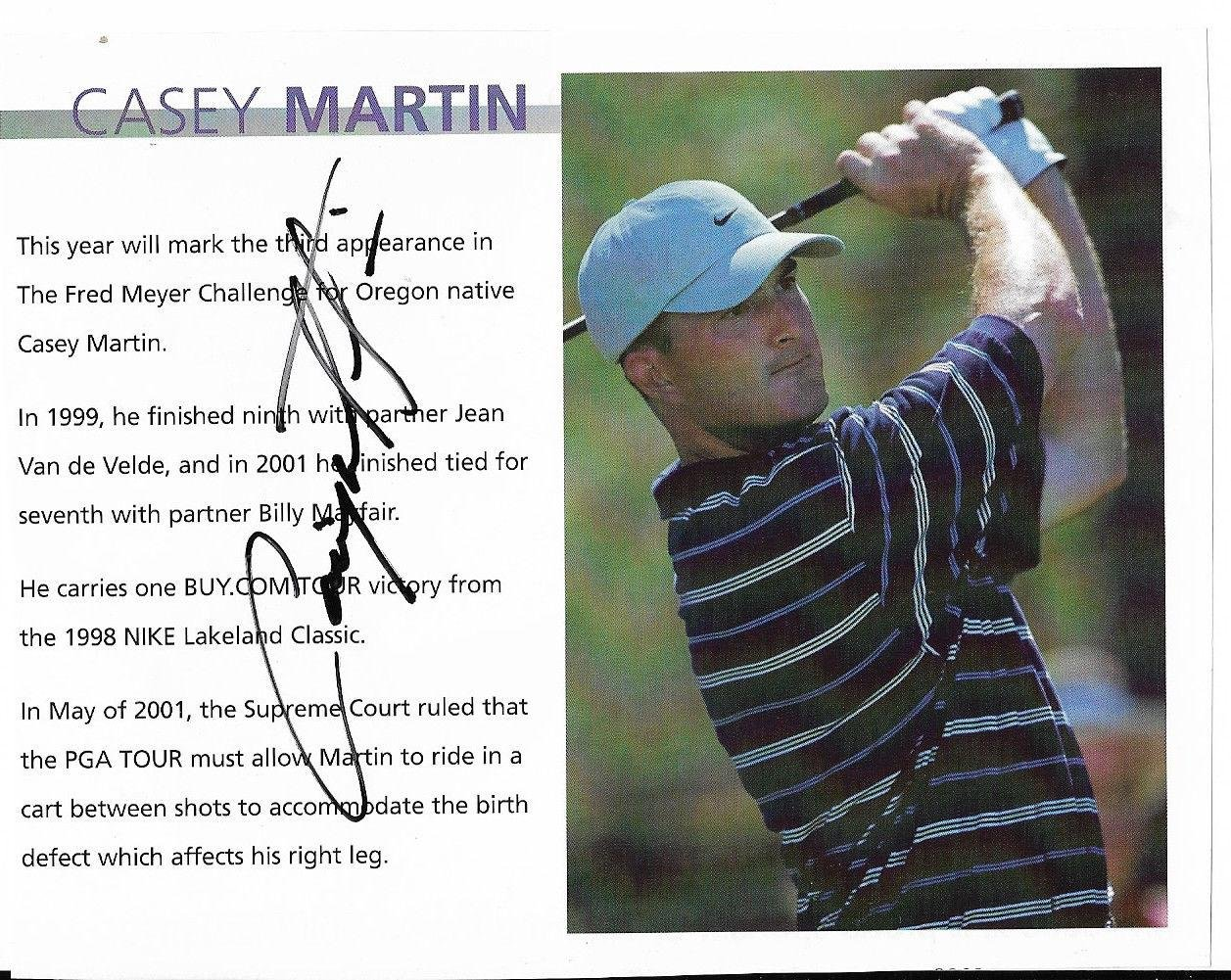 Autographed Casey Martin Photo Star 5x6 Book Page W coa Autographed Golf Photos