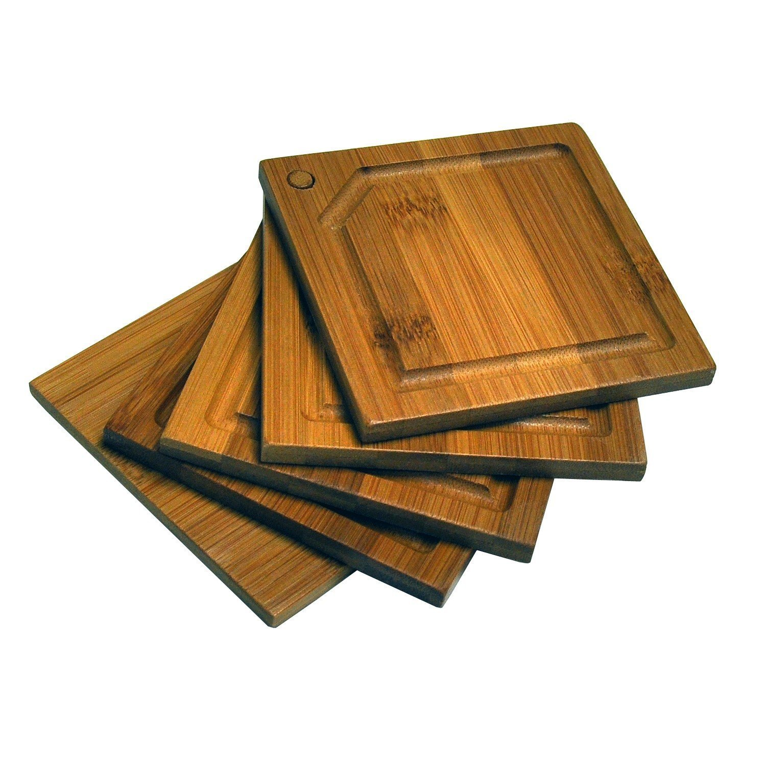 Healthpro Bar Coaster Set Super Package, Includes 5 Piece Organic Moso Bamboo Heavy Duty Round Coaster Set And 5 Piece Organic Moso Bamboo Heavy Duty Square Coaster Set