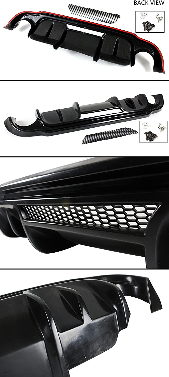 MotorFansClub Exhaust Rear Bumper Diffuser Fit For Compatible With Infiniti Q50 JDM 2014 2015 2016 2017 Real Carbon Fiber