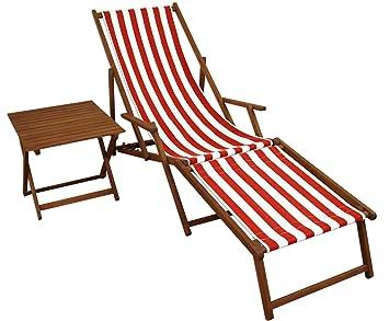 Liegestuhl Holz Mit Fußteil.Amazon De Gartenliege Rot Weiß Fußteil Beistelltisch