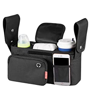 Baby Stroller Organizer with Two Insulated Cup Holders-Bag with Shoulder Strap Stroller Accessories Easy Installation