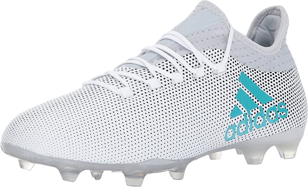 39bd1c248 adidas Men's X 17.2 Firm Ground Cleats Soccer Shoe, White/Energy Blue/Clear