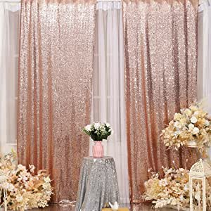 Poise3EHome Sequin Backdrop Curtain 2 Panels 2Ftx8Ft for Wedding Party Decor Golden