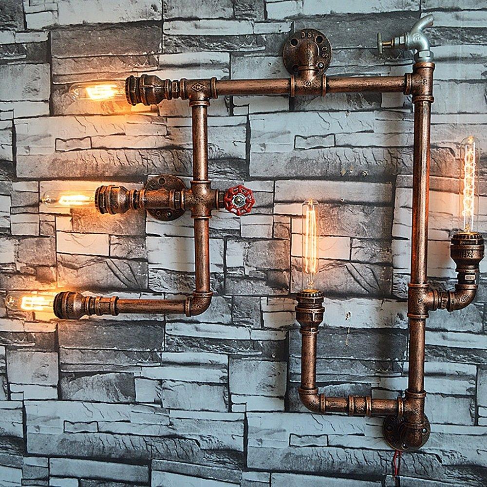 all'ingrosso a buon mercato Illuminazione vintage ferro tubo tubo tubo europeo antico lampada da parete accessori per la casa bar ristorante hotel illuminazione manuale lampada elettrica 5 lampadine E27  ci sono più marche di prodotti di alta qualità