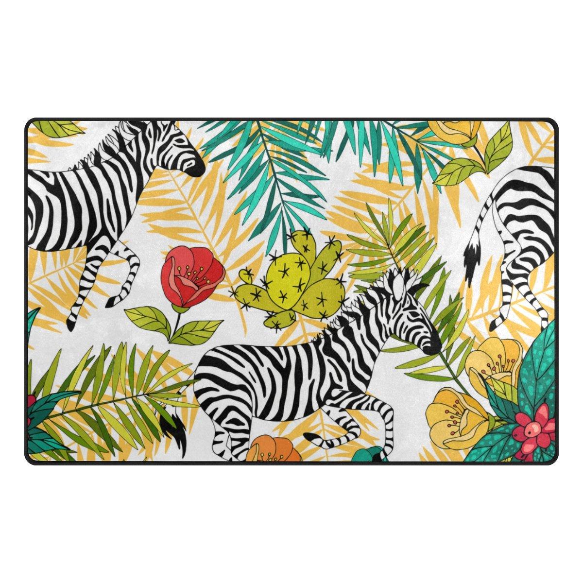 U LIFE Tropical Animal Zebra Striped Floral Flowers Large Doormats Area Rug Runner Floor Mat Carpet for Entrance Way Living Room Bedroom Kitchen Office 63 x 48 Inch