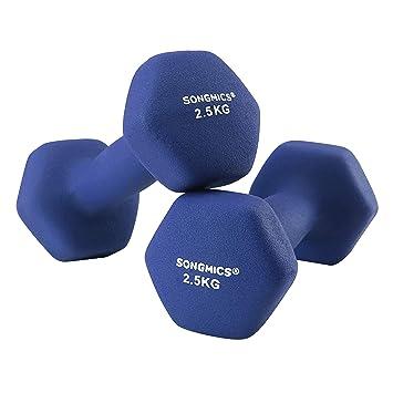 SONGMICS Juego de 2 Mancuernas para Gimnasio y Entrenamiento 2 x 2,5 kg SYL65BU: Amazon.es: Deportes y aire libre