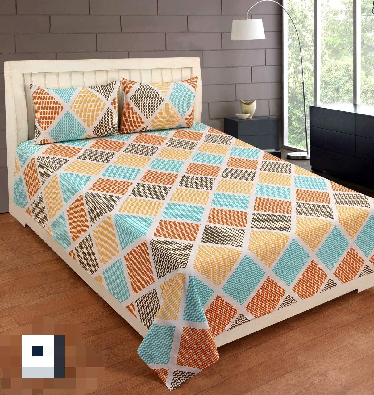 Ab Home Decor 300 Tc 100 Cotton Queen Size Bed Sheet Double With 2 Pillow Cover King Size Multi Color Amazon In Home Kitchen