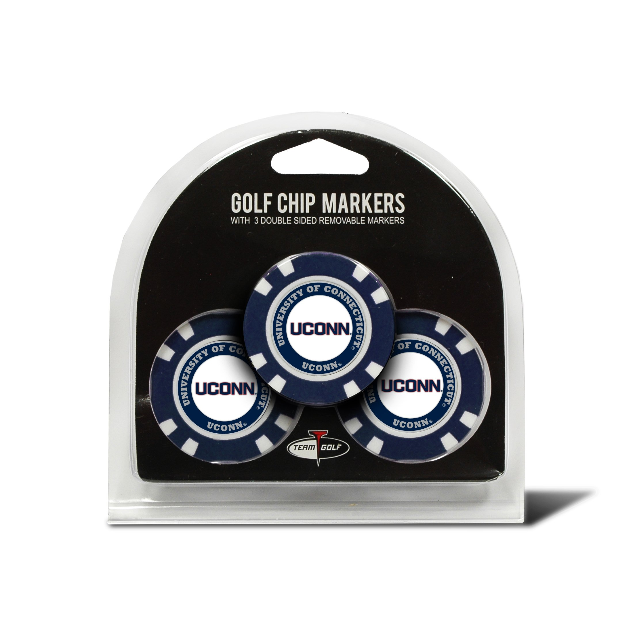 Team Golf NCAA UCONN Huskies Golf Chip Ball Markers (3 Count), Poker Chip Size with Pop Out Smaller Double-Sided Enamel Markers by Team Golf