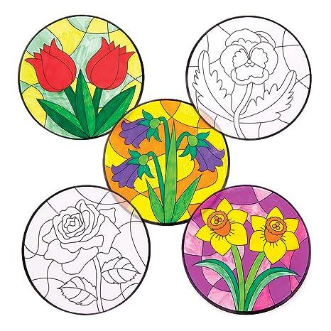 Baker Ross Adornos Florales Para Colorear Y Colocar En La Ventana
