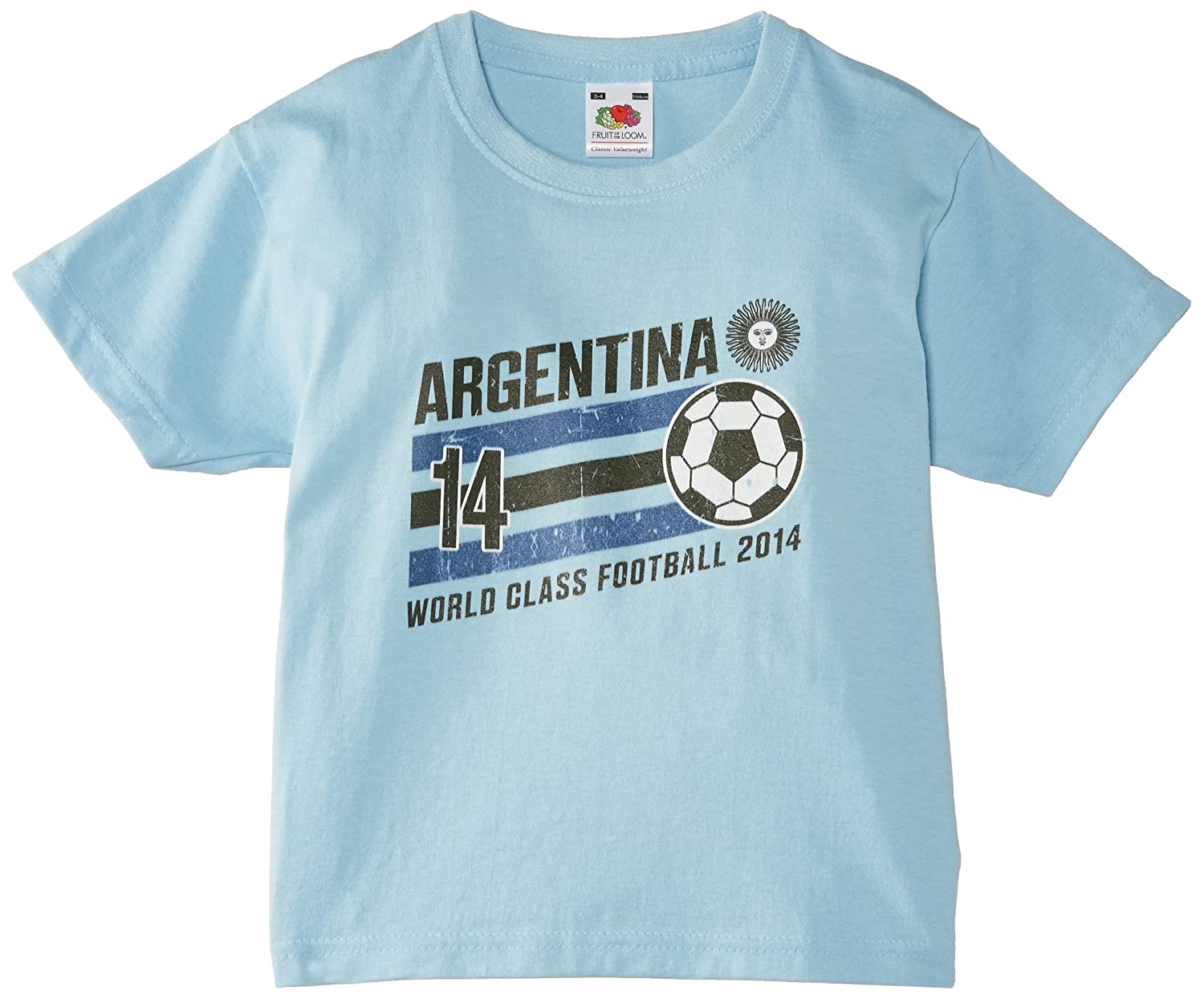 dd81f99dcc8ea Football Fan Boys Argentina Stripes Kids Short Sleeve T-Shirt:  Amazon.co.uk: Clothing