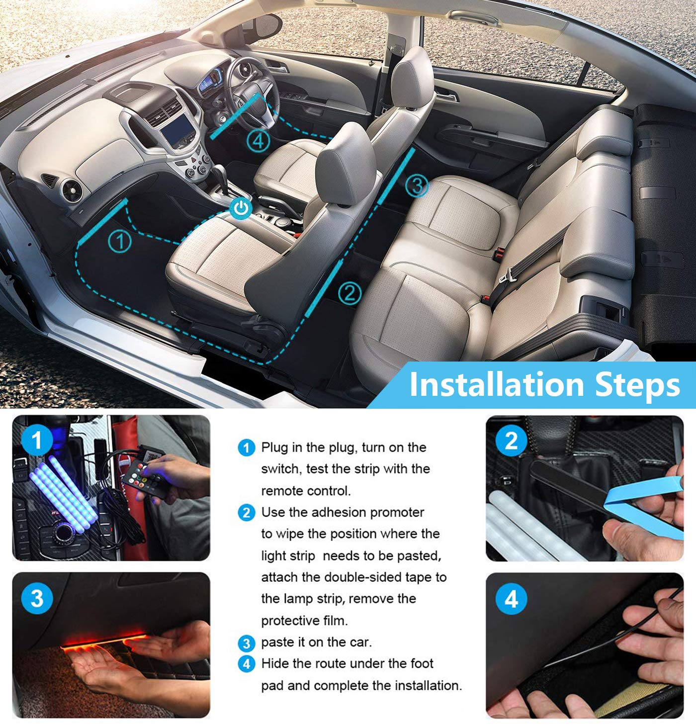 Car LED Interior Strip Lights 4Pcs 48 LED Bluetooth APP Controller Strip Lights Multicolor Music Atmosphere Under Dash Lighting Kit with Sound Active Function and IR Remote Control