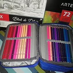 AMGOMH Estuches, 72 ranuras portalápices Caja de lápiz de Estudiantes Organizador Estuche Escolar de caso lapices de colores lápiz bolsa de arte dibujo Estuches Escolares Pencil Case (Negro): Amazon.es: Oficina y papelería