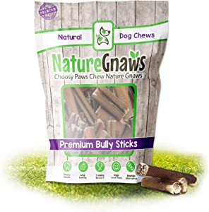 Nature Gnaws Bully Stick Bites for Small Dogs - Premium Natural Beef Bones - Bite Sized Dog Chew Treats for Light Chewers - Rawhide Free - 2-3 Inch