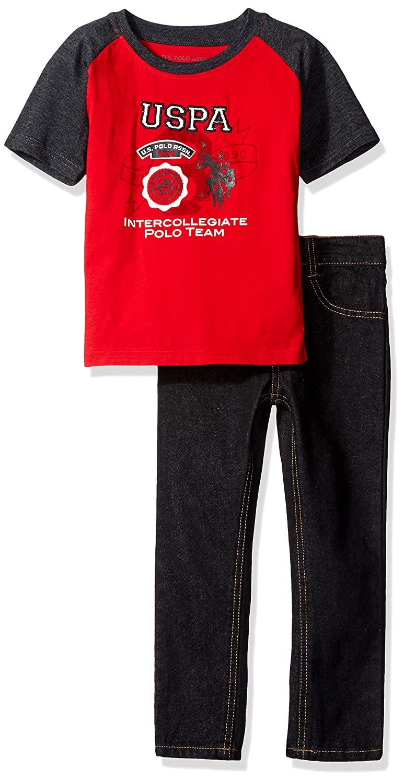 U.S. Polo Assn. Boys' Little Color Block T Shirt Denim Jean