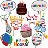 Party Propz Happy Birthday Photobooth (Set of 17) for Birthday Photobooth Props