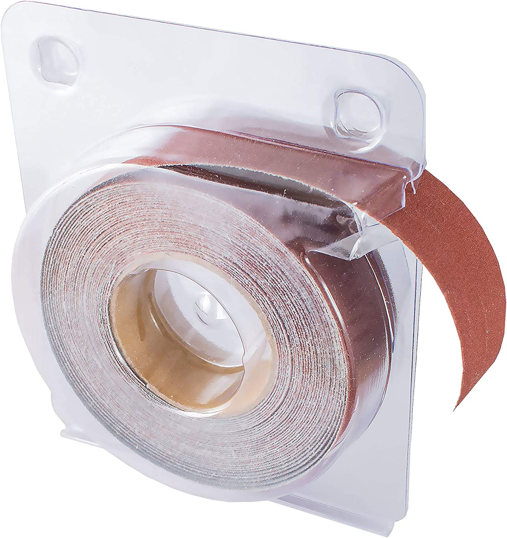 "POWERTEC 4RA2132 320 Grit Aluminum Oxide Sanding Paper Roll 1/"" x 20/"" Self-Dispensing Clear Blister Pack"