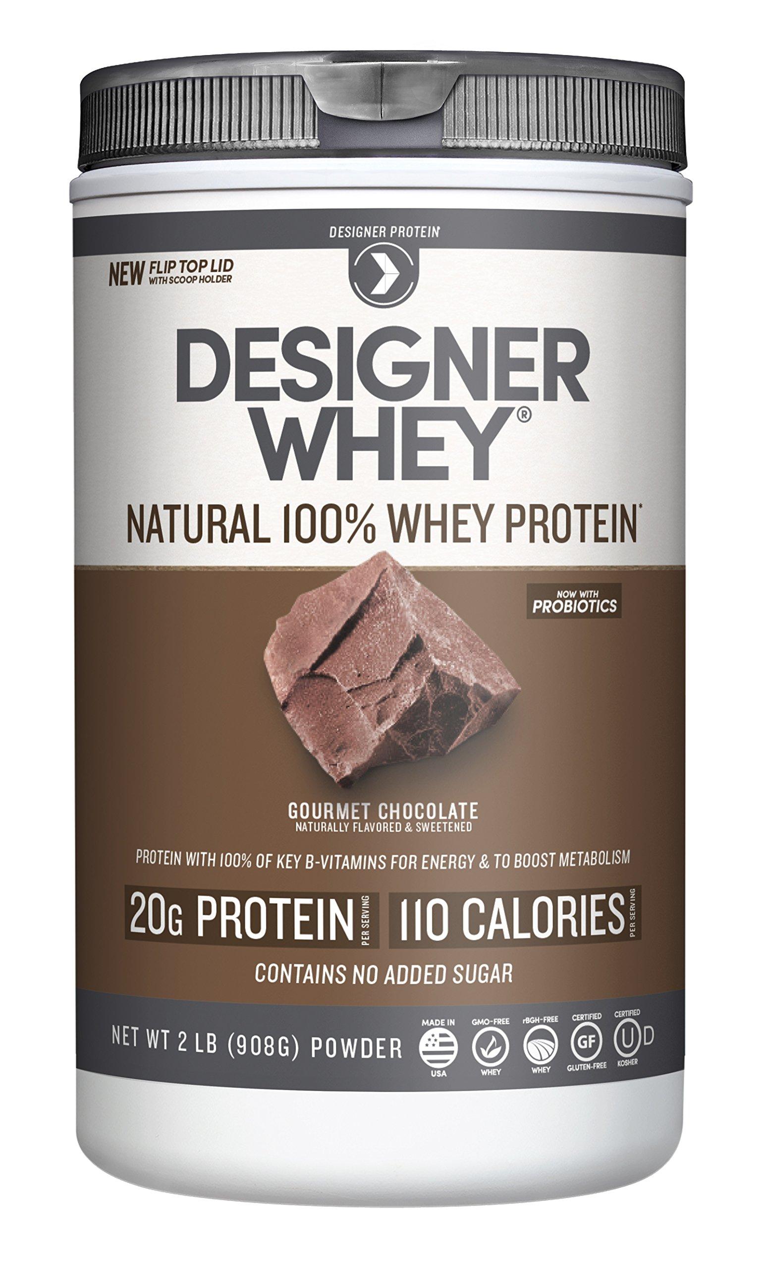 Designer Whey Premium Natural 100% Whey Protein, Gourmet Chocolate, 2 Pound