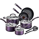 T-fal B131SC Color Luxe Hard Titanium Nonstick Thermo-Spot Dishwasher Safe PFOA Free Cookware Set, 12-Piece, Purple