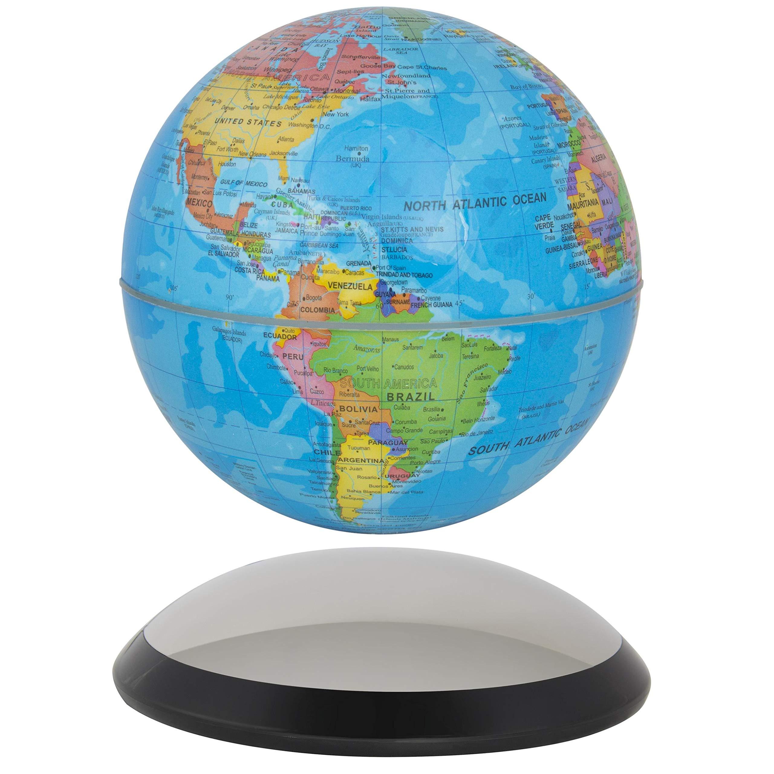 6'' Magnetic Rotating Globe Anti-Gravity Floating Levitating Earth (Glossy Finish) by Liberty Imports