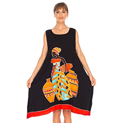 SHU-SHI Womens Poncho Dress Sleeveless Short Cover up Tank Dress Plus Size Swing Dress Hand Paint Tribal Print Black at Women's Clothing store