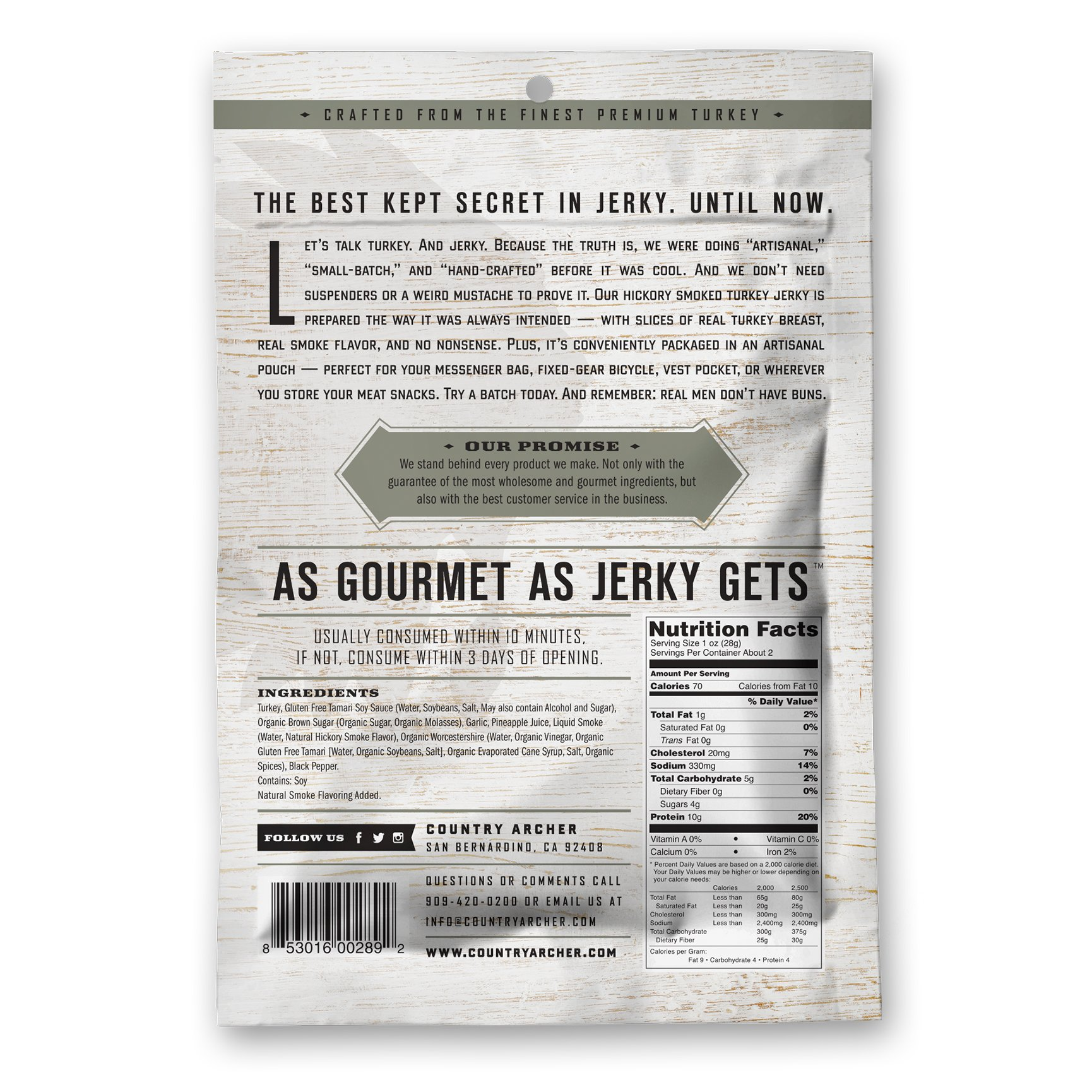 Hickory Smoke Turkey Jerky by Country Archer | Antibiotic Free | Gluten Free | 2.75 Ounce (Pack of 3) by Country Archer (Image #2)