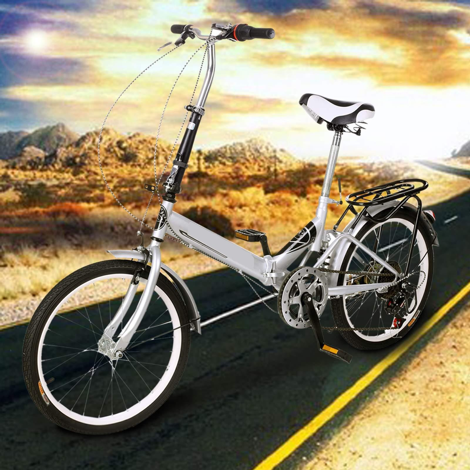 Utheing 20inch Wheel Folding Bike 6 Speed Mountain Bicycle Cycling Steel Frame Double Disk, Silver by Utheing (Image #7)