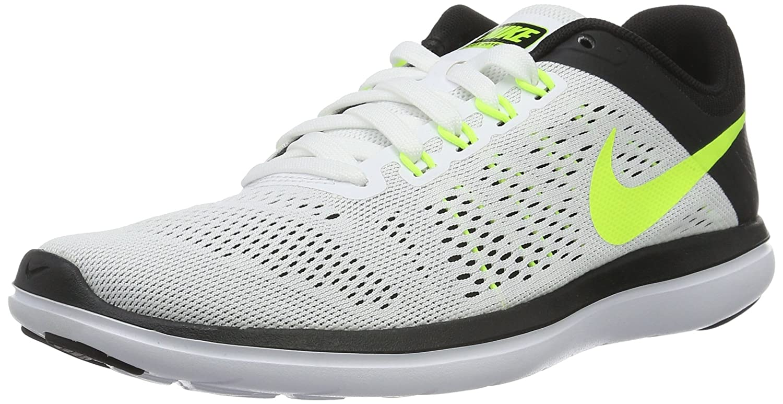 Nike Herren Flex 2016 RN Laufschuhe,  44 EU|Wei? (White / Volt-black)