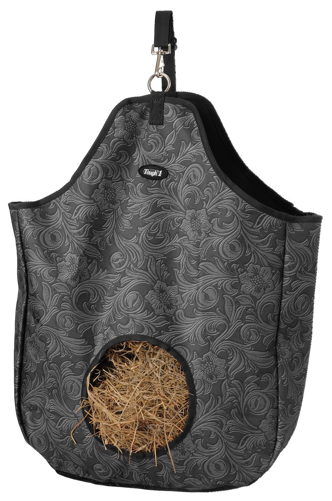 Tough 1 Nylon Hay Tote Bag in Prints, Tooled Leather Black by Tough 1