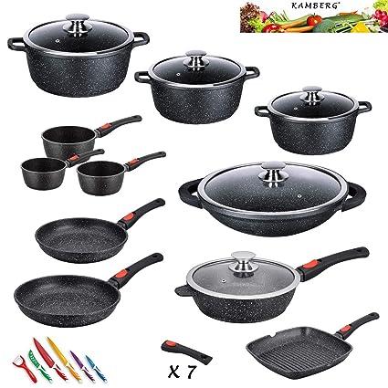 Kamberg 0008162 - Batería de cocina (27 piezas, hierro fundido, revestimiento de piedra