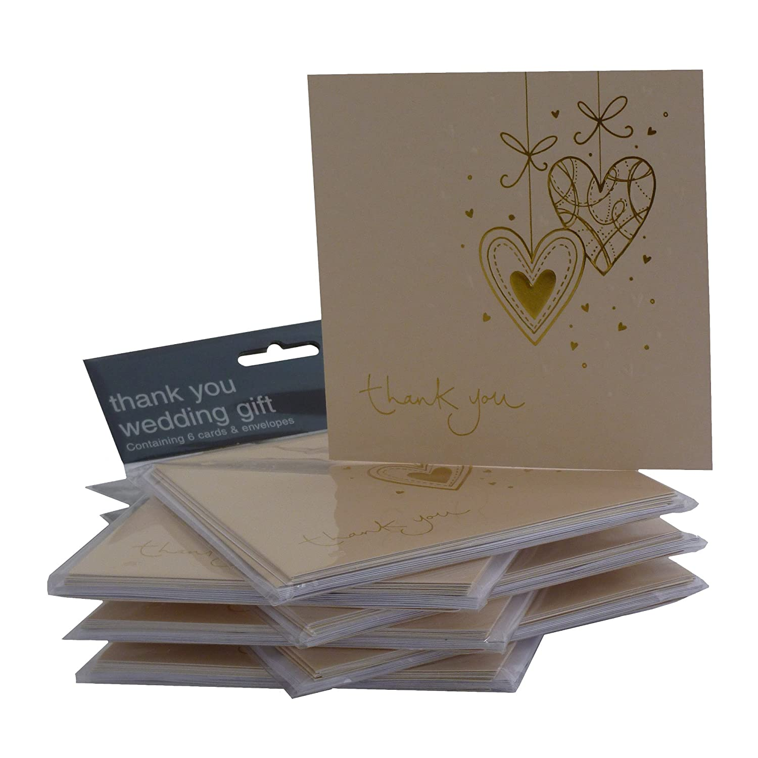 B thank you wedding cards Multipack Gold Heart Wedding Thank You Cards 36 Cards with Envelopes Amazon co uk Toys Games