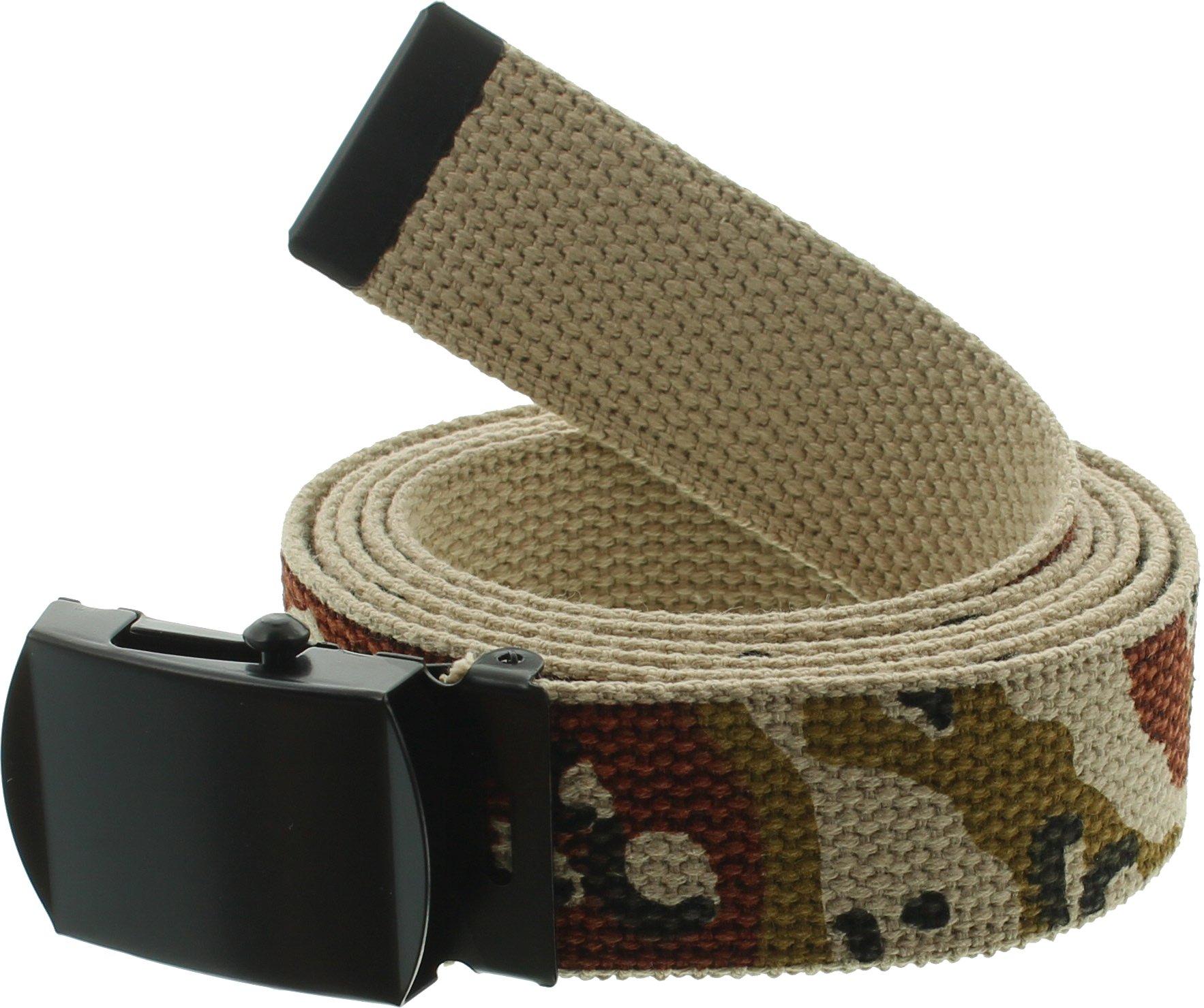 100% Cotton Military 54'' Web Belt (Desert Camouflage w/Black Buckle)