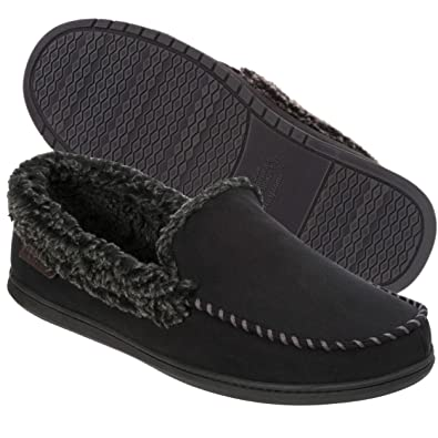 620c9f13f8f7d Dearfoams Men s Microfiber Suede Closed Back Moccasin Style Slipper –  Padded Slip-Ons with Memory