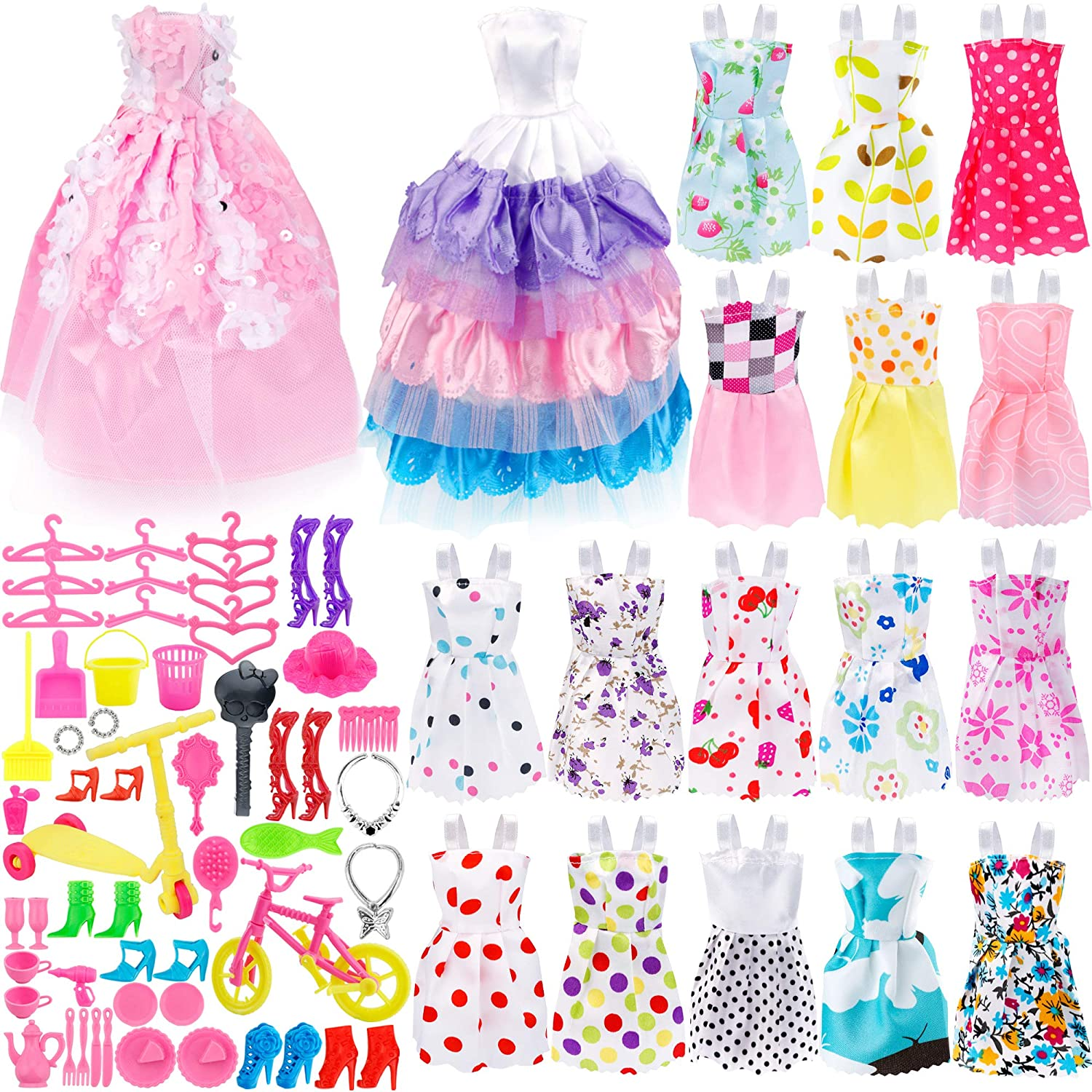 ONEONEY 73Pcs Dolls Fashion Set Barbie Included 18Pcs Wedding Party Outfits Clothes 55Pcs Doll Accessories Shoes Bags Necklace Girls' Gifts JANYUN