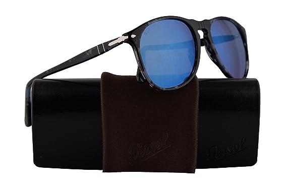 0b5ef25072 Persol PO9649S Sunglasses Spotted Blue Dark Grey w Grey Mirror Blue Lens  55mm 1062O4 PO9649-S 9649S PO 9649-S  Amazon.co.uk  Clothing
