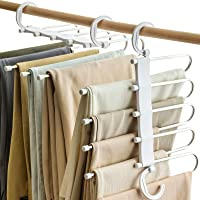 Vitalome Pants Hangers 5 Layers Stainless Steel Non-Slip Space Saving Clothes Closet Storage Organizer for Pants Jeans…