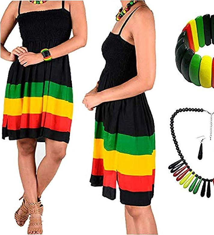 BUNFIREs 5 Piezas Jamaica Caribe Reggae Rasta Falda Vestido 1 ...