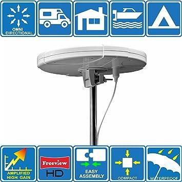 Unispectra TV Digital Dab FM Antena omnidireccional amplificada, 12V / 220V, para autocaravanas, caravanas, Furgonetas, Barcos, Camiones, Camping