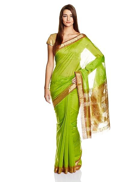 d5d963d6c9961 IndusDiva Forest Green Coimbatore Silk Cotton Handloom Saree  Amazon.in   Clothing   Accessories