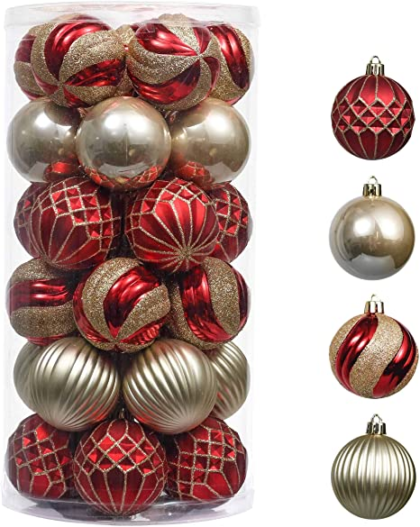 Amazon Com Valery Madelyn 30ct 60mm Luxury Red Gold Shatterproof Christmas Ball Ornaments Decoration Themed With Tree Skirt Not Included Home Kitchen