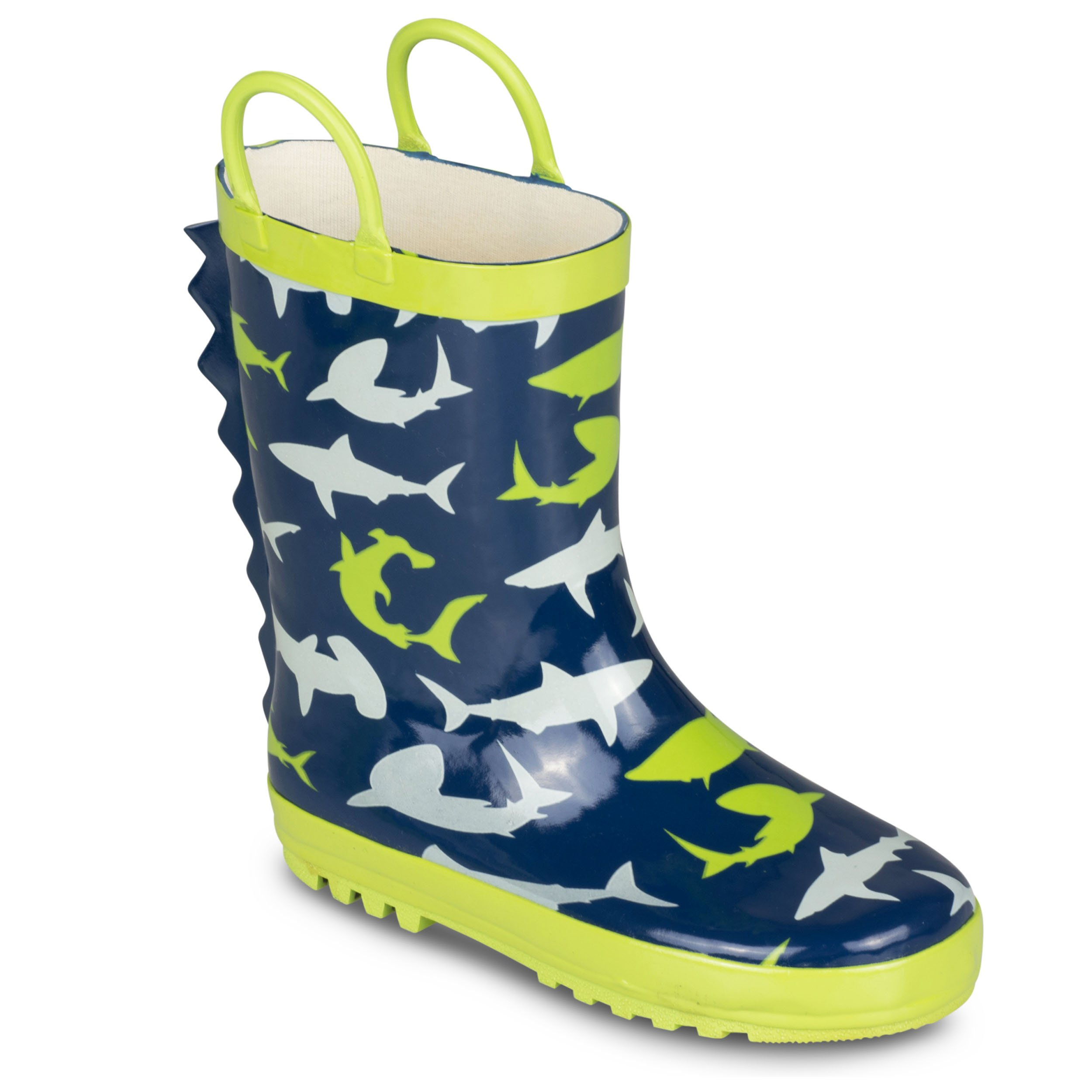 [SBR702-SHARKPRINT-T7] Boys Rain Boots Shark Print Easy On Toddlers Size 7