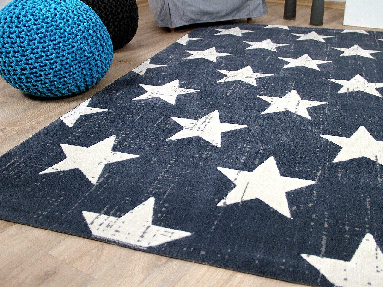 Soft Touch in Velour Designer Teppich Canvas Sterne Blau in Touch 4 Größen 977c6d