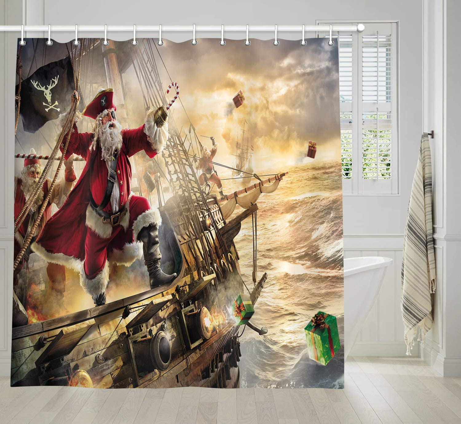 NYMB Funny Christmas Decor Shower Curtain, Cool Xmas Santa Claus on Nautical Pirate Ship on Ocean Tapestries, Festival Holiday Bath Curtain, Fabric Bathroom Decor Set with Shower Hooks, 69X70 Inches
