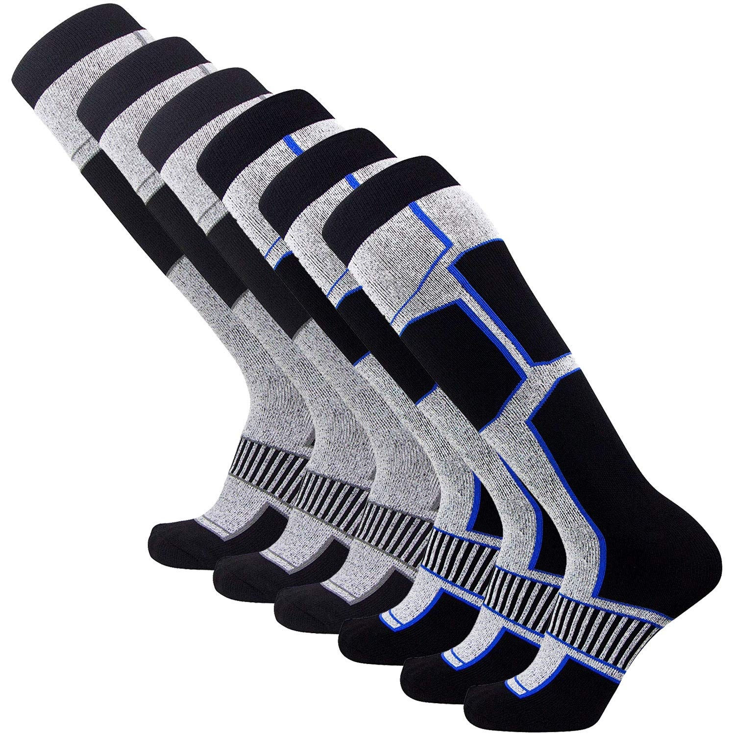Pure Athlete Snowboard Socks - Comfortable Warm Skiing Snowboarding Sock for Men and Women (6 Pairs - Black-Blue (3) + Black Silver (3), Large)