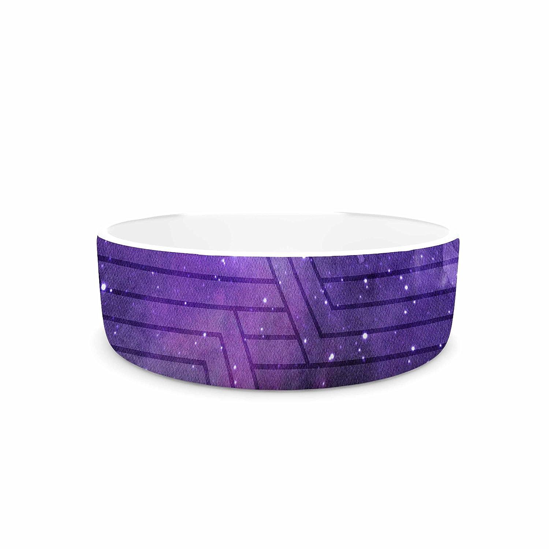 KESS InHouse Matt Eklund Cosmic Labyrinth  Purple Lavender Pet Bowl, 7