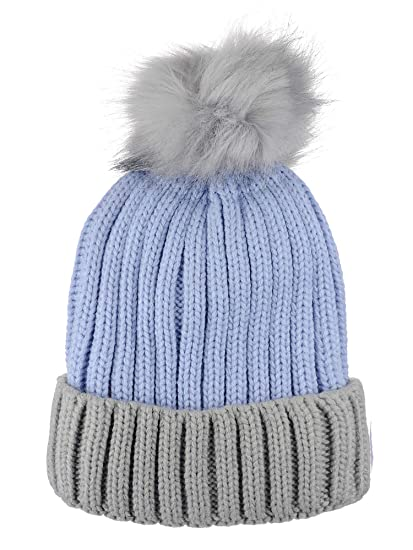 c3f25186816c9 D Y Rib Knit Beanie with Two Tone Cuff and Faux Fur Pom