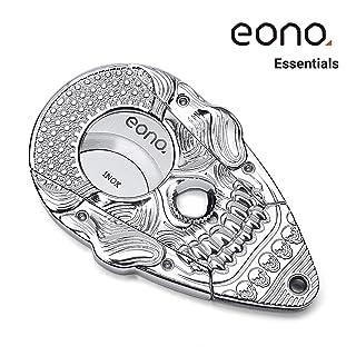 Eono Essentials Sistema de Bloqueo de Cortador de cigarros Cuerpos de cráneo de Plata Brillante Shinny 3D Acero Inoxidable Auto Afilado Guillotina Tijeras de Doble Corte