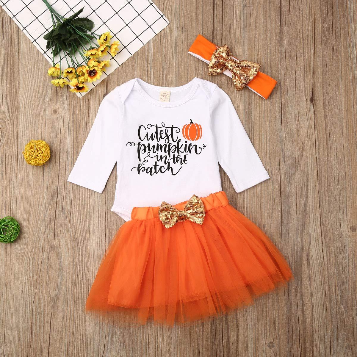 Kosusanill Newborn Baby Girl Halloween Costume Pumpkin in The Patch Romper Bodysuit Tutu Skirt Headband Outfit Set 0-12M