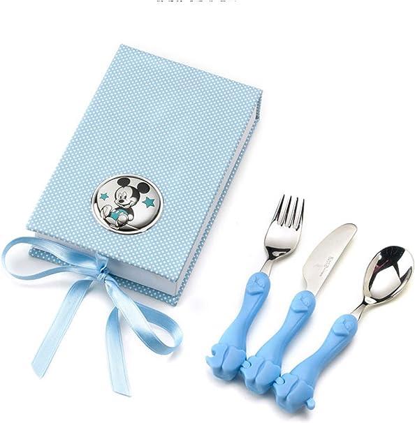 CUBIERTOS para BEBE con estuche y adorno de MICKEY en Plata bilamanida. Color azul.: Amazon.es: Bebé